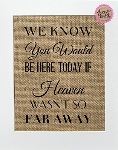 8x10 UNFRAMED We Know You Would Be Here Today if Heaven Wasn't so Far Away / Burlap Print Sign / Rustic Shabby Chic Vintage Wedding Decor Sign Someone's in Heaven Loved One Memorial Gift (multi font)]()