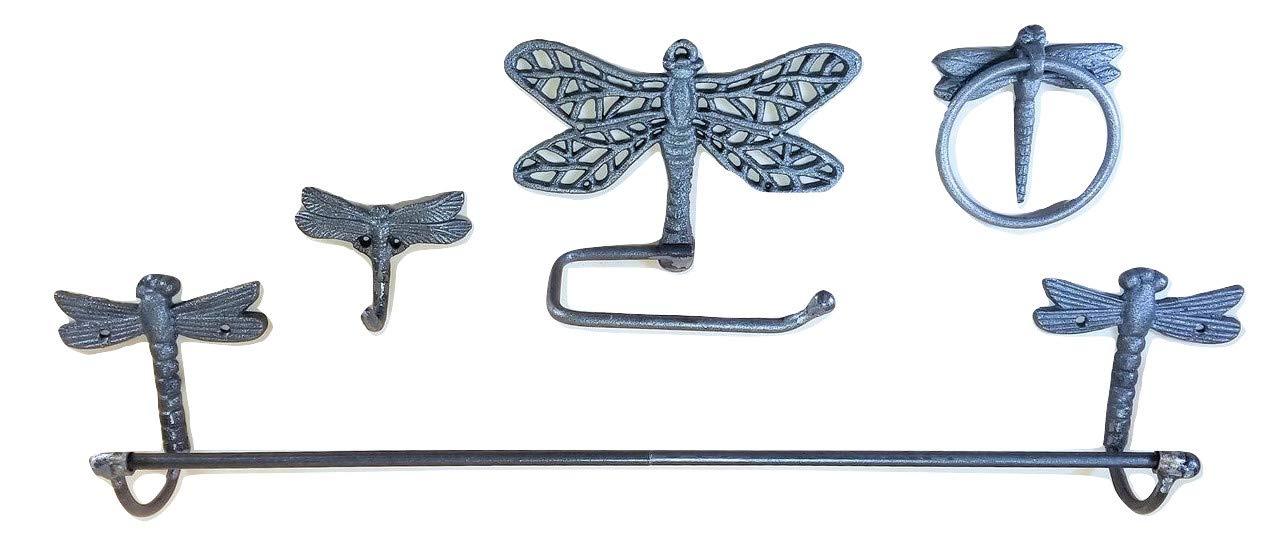 Dragonfly Cast Iron Bathroom Accessory Set 4 pc