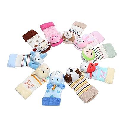 iBaste 12 Pares/Set Lindo Calcetines de Piso para Bebés Otoño Invierno Calcetines para Niños