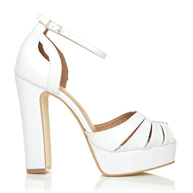 4de9b1148a6 Morgan White PU Leather Platform Peep Toe Block Heel Ankle Strap Party Shoes   Amazon.co.uk  Shoes   Bags