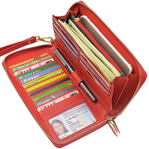 Women Leather Long Clutch Wallet(Red) - 7
