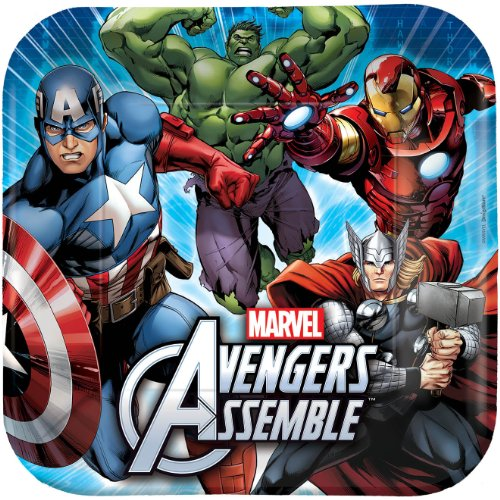 [8 Count Avengers Square Dinner Plates, Multicolored] (Incredible Hulk Costume Ideas)