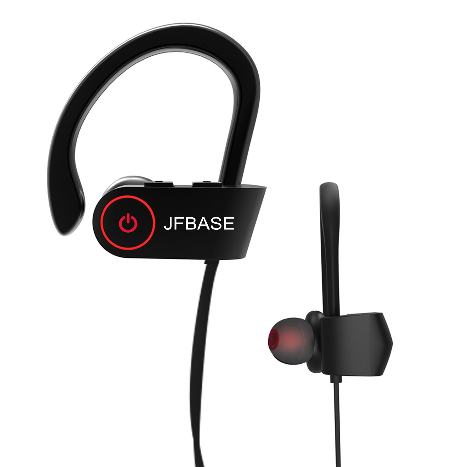 Bluetooth Headphones, JFBASE Wireless Waterproof Sports Earphones with Built-in Mic for Outdoor Exercise, HD Stereo Sweatproof Earbuds for Gym Running, Noise Cancelling IPX7 Headsets 8 Hour Battery