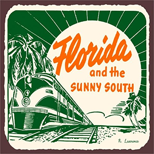 Florida Sunny South Vintage Metal Art Florida Retro Metal Tin Sign 12X12 Inches Square Metal Signs Vintage