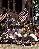 1942 Polish Italian Immigrant Girls American Flag Old Historical Photograph - Various Sizes Reprint