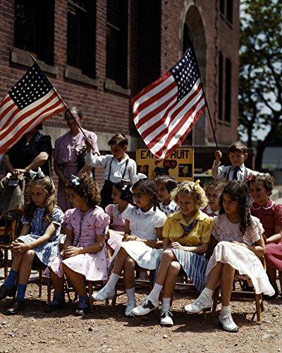 1942 Polish Italian Immigrant Girls American Flag Old Historical Photograph - Various Sizes Reprint - Old Polish Flag