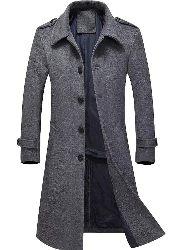 Mordenmiss Men's Long Slim Peacoat Winter Business Wool Blazer Gentlemen Trench Coat