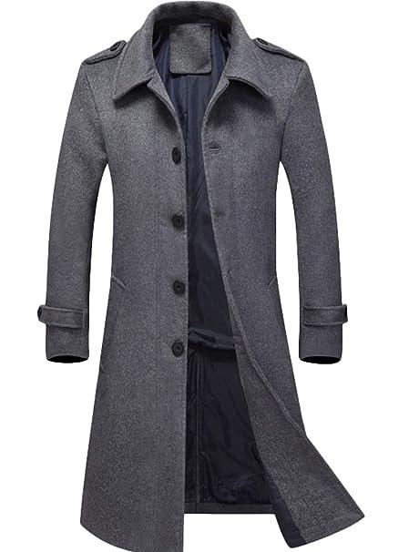 Mallimoda Uomo Cappotti Sottile Caloroso Cappotto Monopetto Inverno Slim  Fit di Lana  Amazon.it  Abbigliamento 052b80ea940