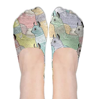 Xiuarrowxiu No Show Socks Alpaca Girls' Non Slip Funny Crew Low Cut Liner Ankle Boat Stockings