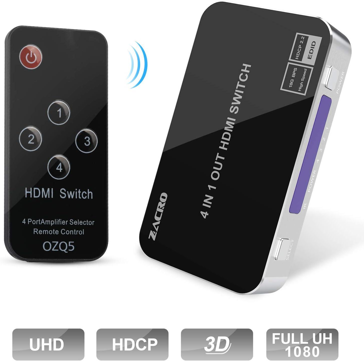 Zacro Switch HDMI 4K para PS4 Xbox Sky Box Fire Stick//reproductor DVD//proyector HDTV soporta 4K 3D 1080P HD divisor HDMI 4 en 1 etc.
