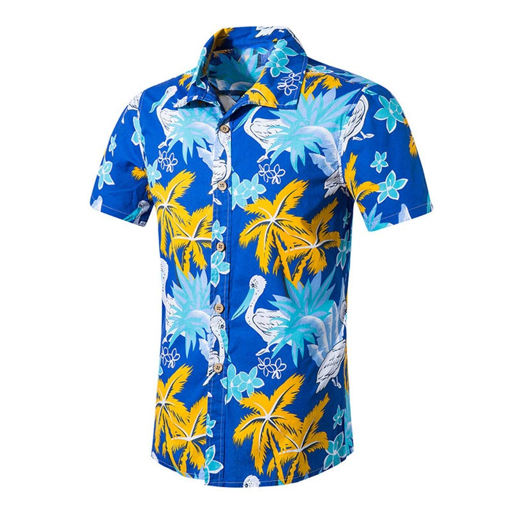 QHF Mens Hawaiian Printed Shirt Men Animal Print Short Sleeve Beach Shirt Asian-Size1,M