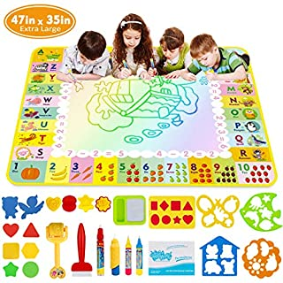 """Doodle Mat - Funplus Large Size 47"""" X 35"""" of Water Drawing Mat for Kids with 4 Magic Water Pens and 17 Molds, No Mess Kids Educational Toy Gift Magic Painting Doodle Mat with Neon Colors for Toddler"""