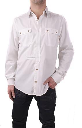 Diesel Camicia Camisa de Hombre con Collar de Cuero Blanco (Blanco, M-L): Amazon.es: Ropa y accesorios