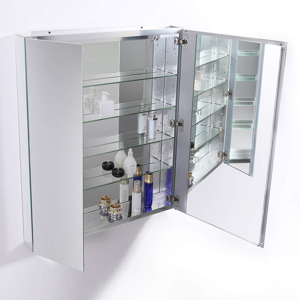 Fresca 30 Wide x 36 Tall Bathroom Medicine Cabinet w Mirrors
