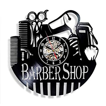 WANGXN Reloj de Registro de Vinilo Reloj secador de Pelo Tijeras Peine Regalo Hecho a Mano para peluquería: Amazon.es: Hogar