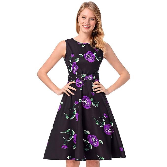 antaina Vestido Plisado de Fiesta Floral Vintage Con Estampado Floral de Color Púrpura Se Visten Con