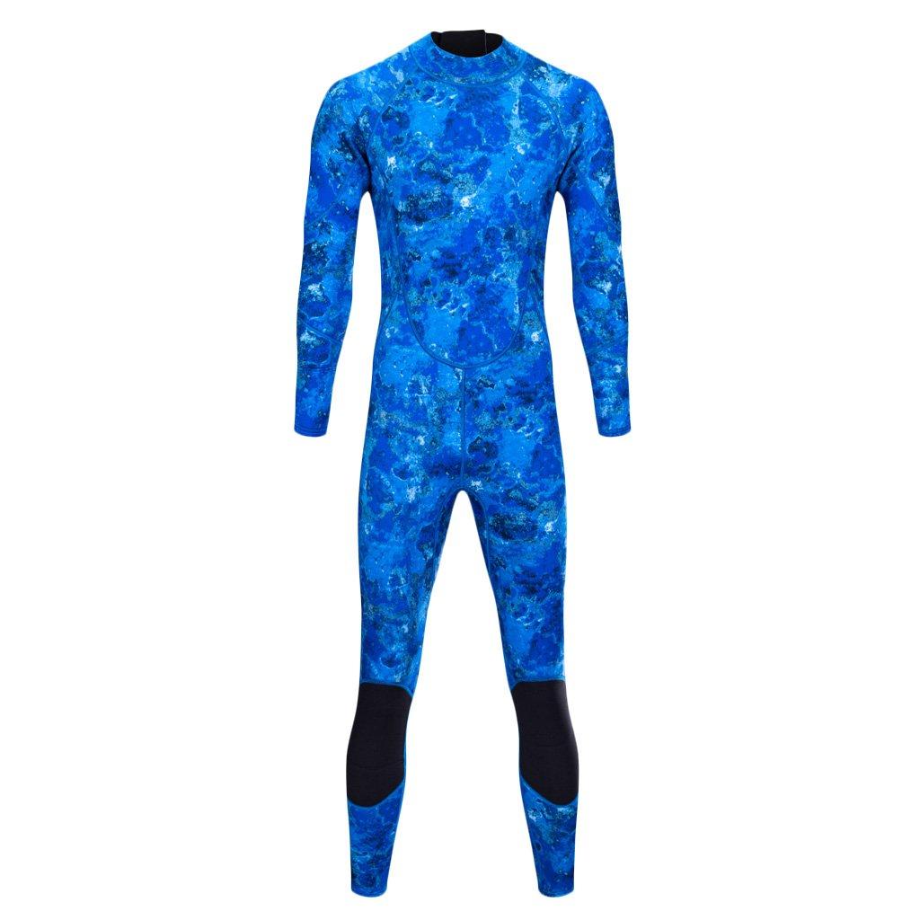 Camouflage Bleu petit MagiDeal Combinaison De Plongée Sous Marine De 3mm Costume En Néoprène étanche Homme