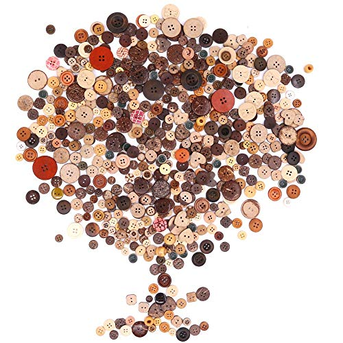 Rustark 650Pcs Resin Buttons Favorite Findings Basic Buttons 2 and 4 Holes Craft Buttons for Arts, DIY Crafts, Decoration, Sewing - Sizes Range from 0.28 to 1.18 Inch (Coconut Shell)