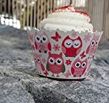Cupcake Wrappers Baby Shower and Gender Reveal - Adjustable - Set of 12 (Pink Owls)