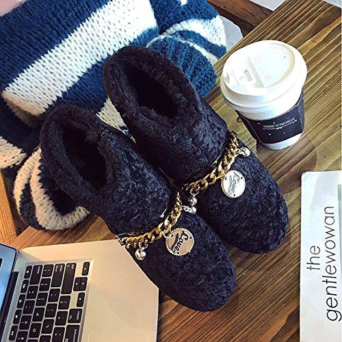 de nieve negro botas para marrón botas Ronda de Zapatos de mujer goma invierno exterior Toe Black de xwXqx6g80