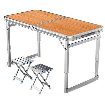 YXX- Mesa y sillas Plegables portátiles con manija y piernas ...