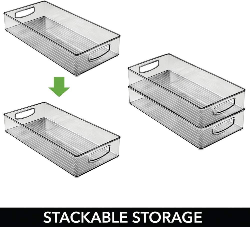 Use as Fridge Tray Smoke Grey Large Open-Top Refrigerator Storage Tray with Handle mDesign Set of 2 Plastic Storage Box Shelf Box or for Cupboard Storage