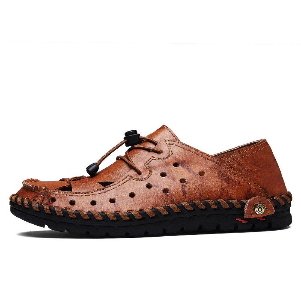 Sommer Herren Schwarze Sandalen Leder Schuhe Closed-Toe Outdoor Sandalen Trekking Schuhe Leder Strandschuhe Sport Sandalen Braun 7bfa73