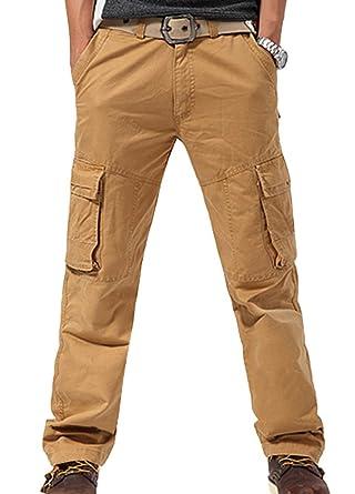 Feoya Herren Arbeitshose Wasserwäsche vintage Cargohose Mehrere Tasche Hosen  aus Baumwolle Trekkinghose Loose-Fit Outdoor