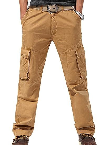 8ab821b79e2 FEOYA - Pantalons Hommes Grande Taille pour Automne - Pantalon Cargo en  Coton pour Travail et