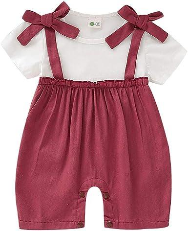 Recién Nacido Bebé Niña Manga Corta Verano Algodón Jumpsuit Conjuntos: Amazon.es: Ropa y accesorios
