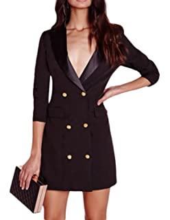 f84d2807303 ASMAX HaoDuoYi Women Fashion Sexy Deep V Neck Solid Color Long Sleeve  Button End Suit Dress