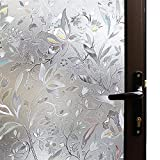 Mikomer Tulip Decorative Window Film,No Glue Frosted Privacy Film,Stained Glass Door Film,Reflective Window Decoration/Static Cling/Vinyl/Heat Control/Anti UV for Home and Office,17.5In. by 78.7In.