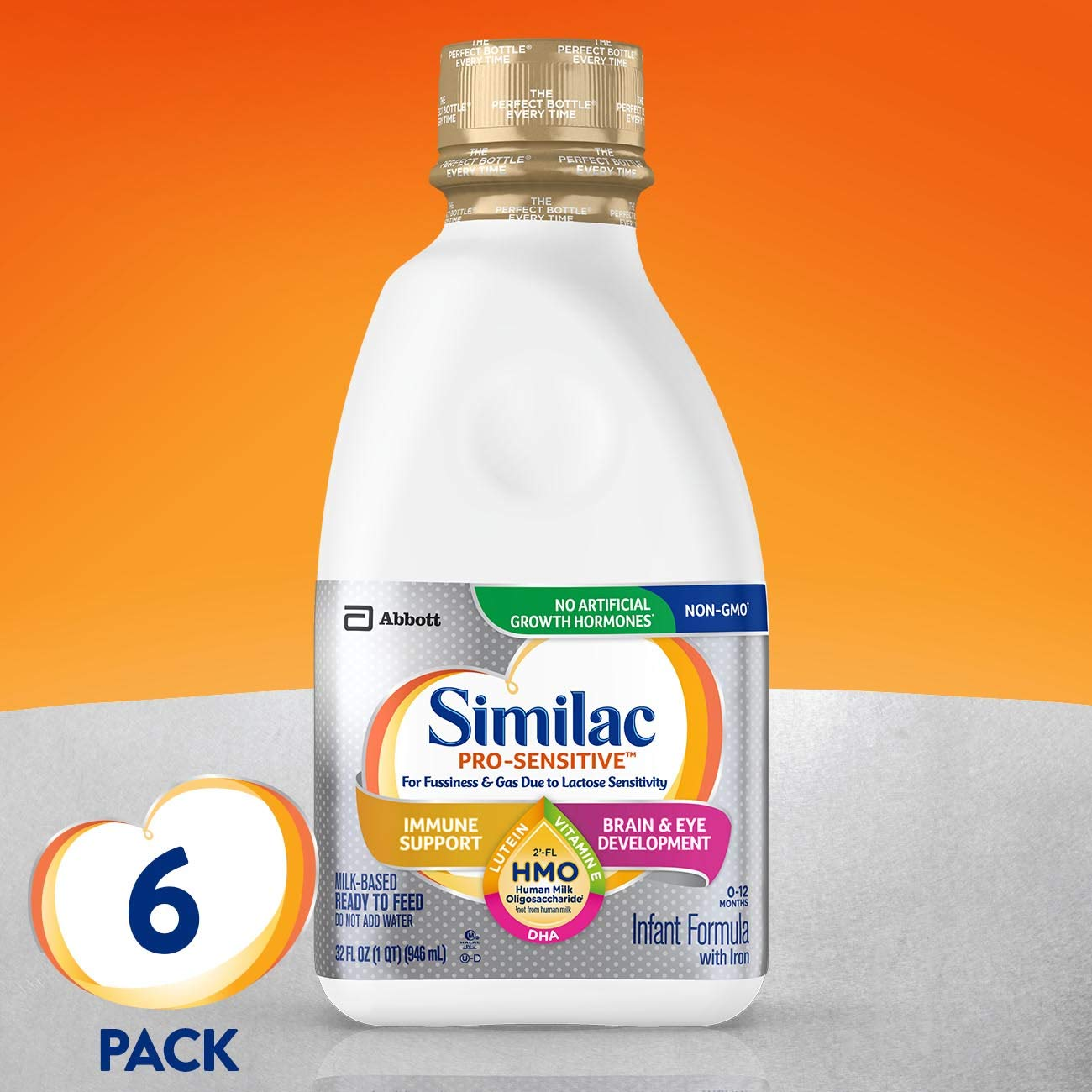 Similac Pro-Sensitive Infant Formula with 2'-FL Human Milk Oligosaccharide (HMO) for Immune Support, Ready to Feed, 32 Fl Oz, Pack of 6