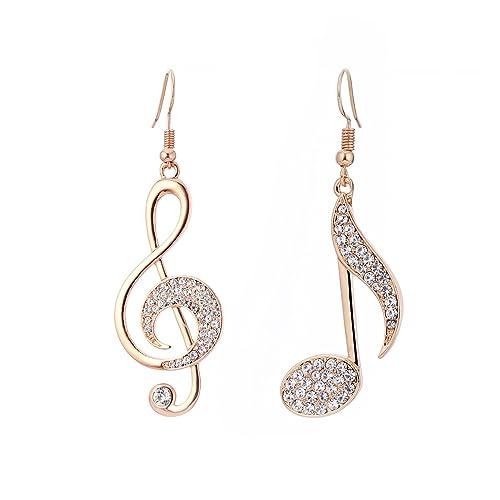 44ddb10725ba87 Orecchini pendenti per donne, orecchini con note musicali Orecchini con  pendenti ragazze in oro o