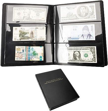 Librao - Álbum de billetes, 60 bolsillos, para coleccionar dinero, de piel, para billetes, coleccionistas, álbum de monedas, almacenamiento de dinero en efectivo: Amazon.es: Hogar