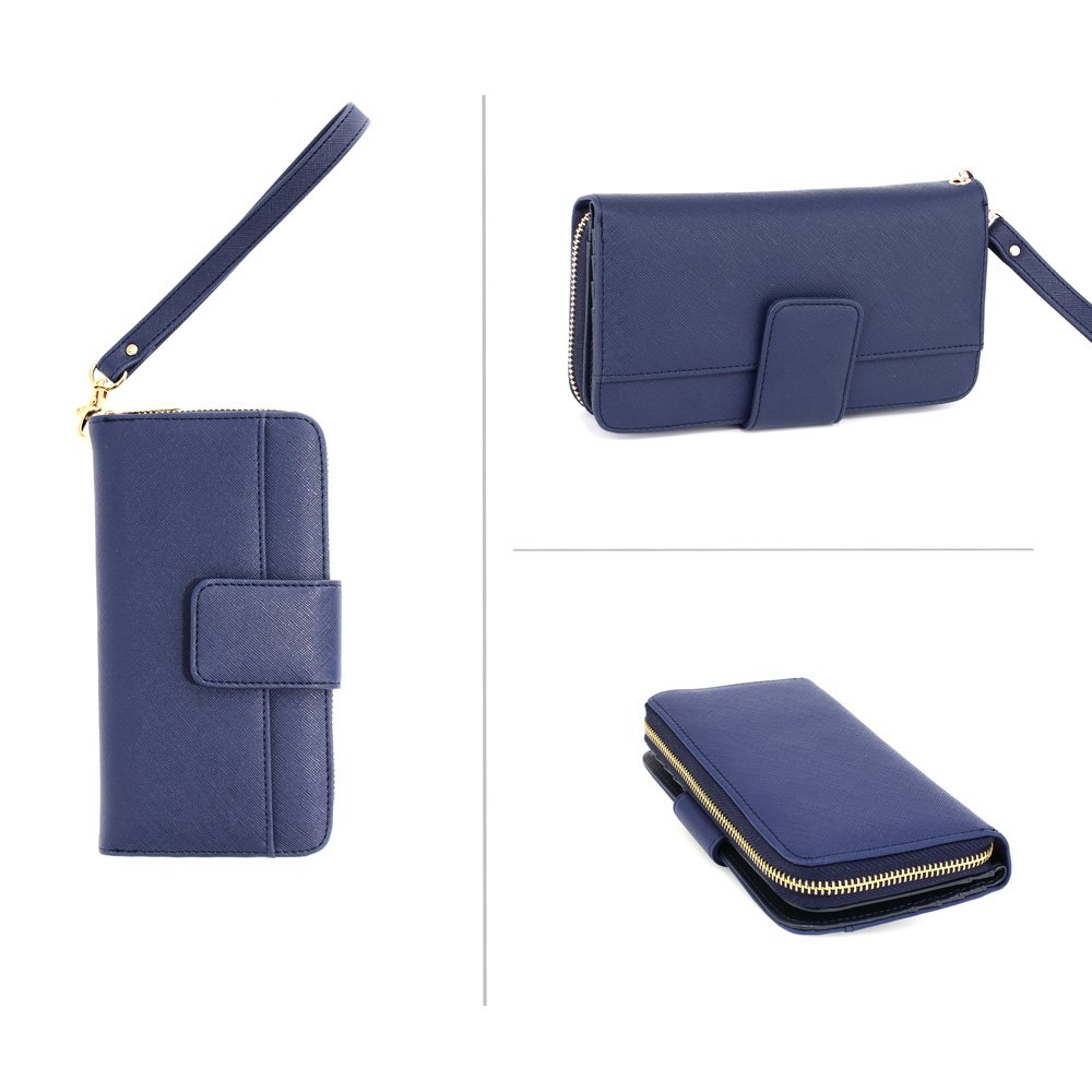 84a770be98ec Ladies Large Purses Women Wallet Zip Designer New Luxury Card Holder Long  Handbag Blue ANNA GRACE