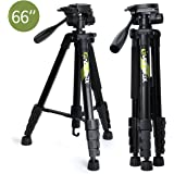 "Endurax 66"" Video Camera Tripod for Canon Nikon Lightweight Aluminum Travel DSLR Camera Stand with Universal Phone Mount and Carry Bag"