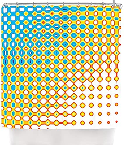Kess InHouse Dawid Roc QuotPsychedelic Artquot Yellow Blue Shower Curtain