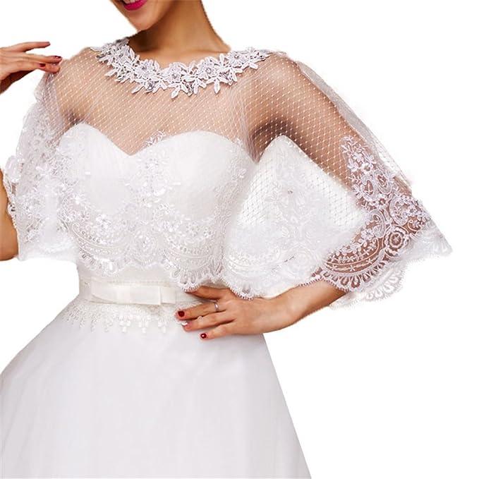 9d8faeac51 Women Lace Bridal Shawl Wrap Shrug Bolero Wedding Tulle Cape for Bride  (1005)
