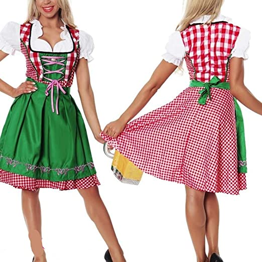 Yiwa - Disfraz de Oktoberfest para Mujer, diseño de Cuadros ...
