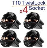 x4 Casquillo T10 Twist Lock Socket W5W Base Rosca Plug Coche Base Conector 1/2
