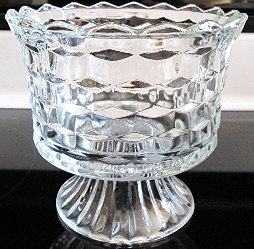Homco Pedestal Diamond Point Clear Glass Candy Dish Diamond Point Candy Dish