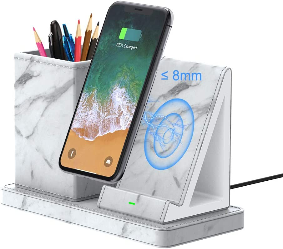 Pen Holder with Wireless Charger, Fast Wireless Charging Stand, Desktop Leather Organizer Storage for Home and Office, 7.5W for iPhone 10W for Samsung Galaxy - White Marble (with QC3.0 AC Adapter)