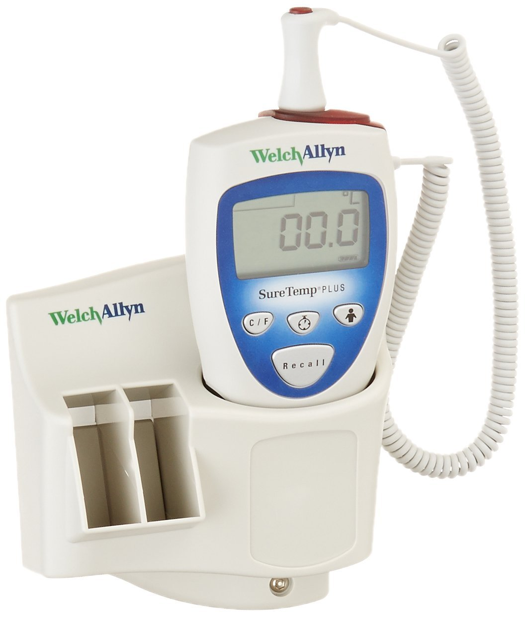 Welch Allyn 01692-201 SureTemp Plus 692 Electronic Thermometer with Wall Mount, Security System with ID Location Field, 4' Cord and Rectal Probe with Probe Well