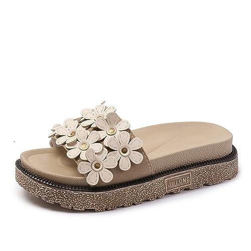 db79209e19088 S Summer Slippers Women Wedge Sandals Flat Platform Sandals Shoes Slip-on  Leather