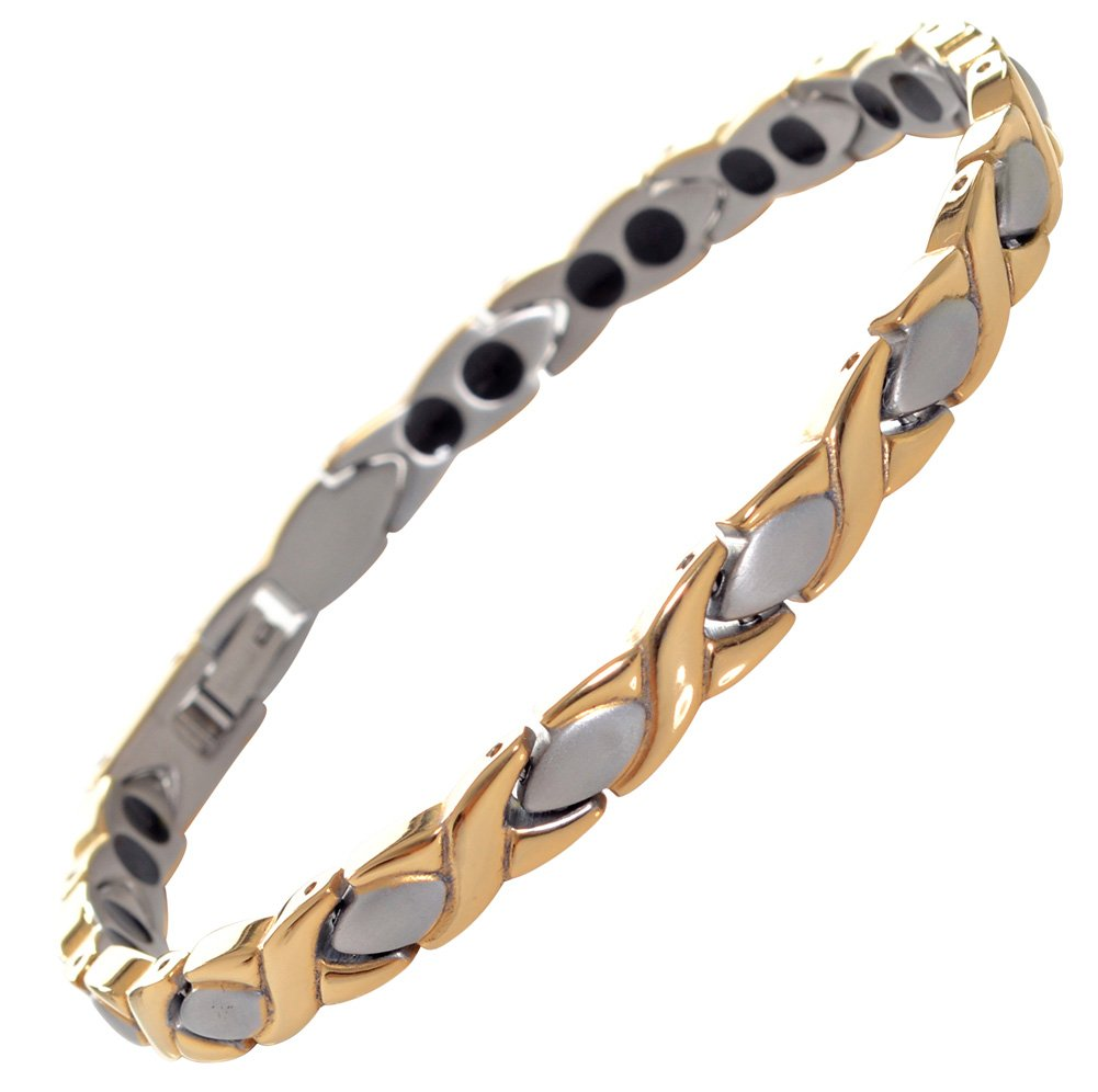 Titanium Magnetic Bracelet Double Strength - Natural Pain Relief Therapy by Mind n Body (Silver & Gold)