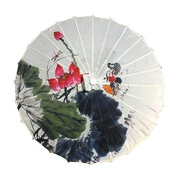 33 Pulgadas China/Japonesa Tipo Handgemachte sombrilla Vintage Papel Paraguas, Volumen de Agua de