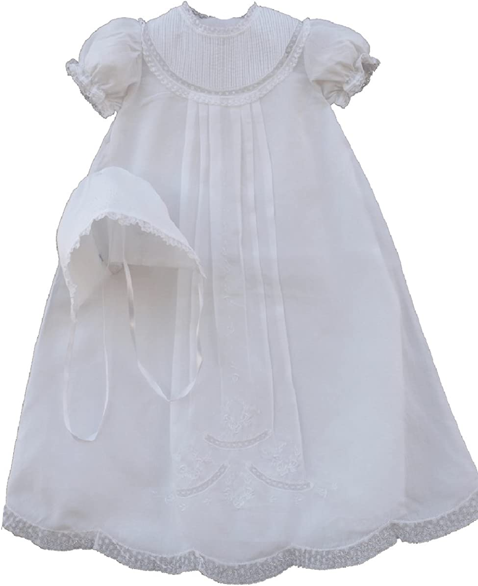 Image of Feltman Brothers Infant Baby Girls White Christening Baptism Gown Bonnet