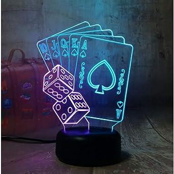Poker Naipes Juego de dados Fiesta 3D Luz Nocturna LED Mesa de ...