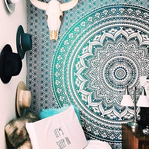 Popular Handicrafts Twin Ombre Tapestry Indian Mandala Wall Art, Hippie Wall Hanging, Bohemian Bedspread 54x84